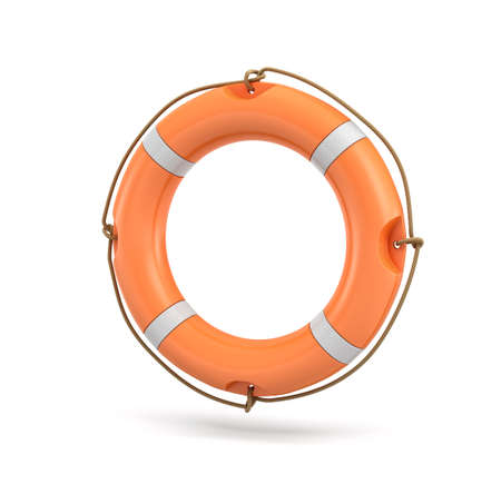 3d rendering of a single isolated orange life buoy hanging over a white background.