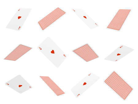 3d rendering of many playing cards flying in the air all of them being aces of hearts.