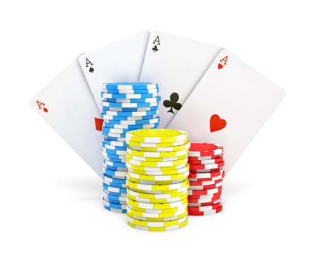 3d rendering of multicolored casino chips with four different ace cards isolated on a white background.