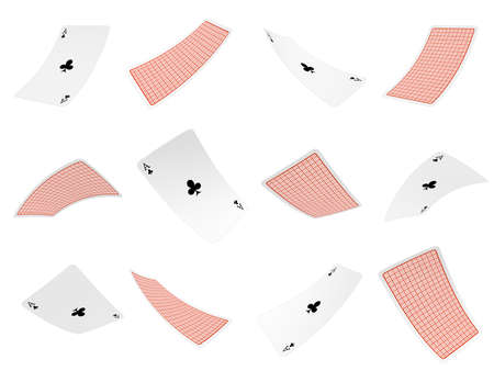 3d rendering of many aces of clubs flying in the air both in front and back views on a white background.