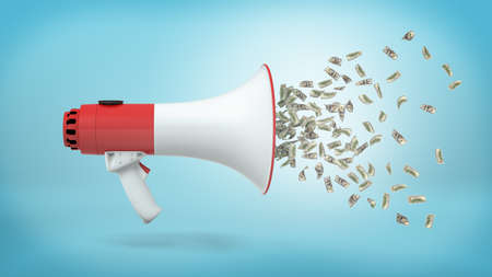 3d rendering of a large red and white megaphone in a side view with many dollar bills flying out of it on a blue background. Public speaking. Publicity budget. Loss of budget. Imagens