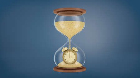 3d rendering of a large retro hourglass with a wooden base and golden sand falling on a gold alarm clock in the lower chamber.