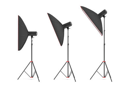 3d rendering of studio flash with big size softboxes stands turned down in several angles.