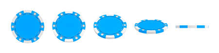 3d rendering of a single blue casino chip shown in different views from full front to a slim side view.