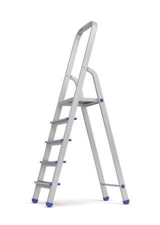 3d rendering of a single metal builders step ladder with blue fittings isolated on white background. Stock fotó