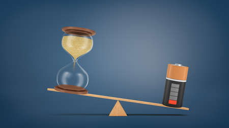 3d rendering of a wooden seesaw with a depleted battery heavier than an hourglass that did not start counting time.