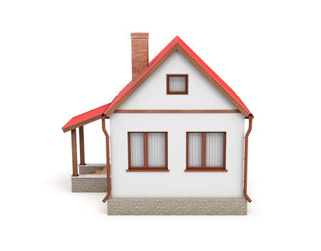 3d rendering of a small residential house with a chimney and a red roof on a white background.