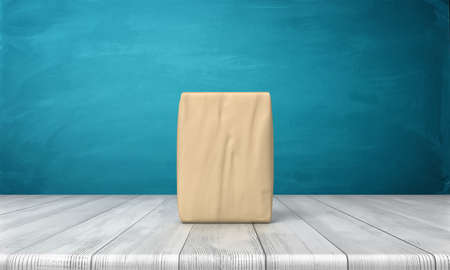 3d rendering of a single closed cement bag vertically placed on a wooden desk on blue background.
