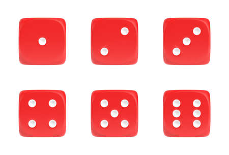 3d rendering of a set of six red dice in front view with white dots showing different numbers.