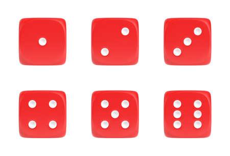 다른 숫자를 보여주는 흰색 도트와 전면보기에서 6 개의 빨간 주사위의 집합의 3d 렌더링.