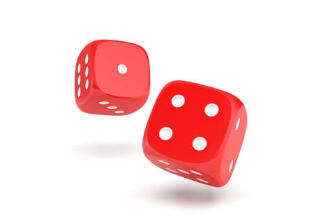 3d rendering of two red dice hanging on a white background