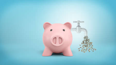 3d rendering of a pink piggy bank stands in front view with a faucet leaking dollar bills attached to its side. Stok Fotoğraf