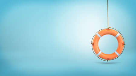 3d rendering of a single orange life buoy hangs down from a rope on a blue background.