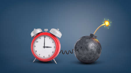 3d rendering of a large red retro alarm clock connected by wire to a round iron lit bomb.
