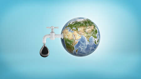 3d rendering of a large Earth globe with a faucet in its side leaking a large oil drop on a blue background.