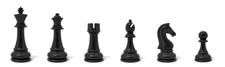 3d rendering of six different chess figurines in white color standing in a row.