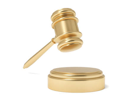 3d rendering of an isolated judge gavel in air under a sound block on a white background.