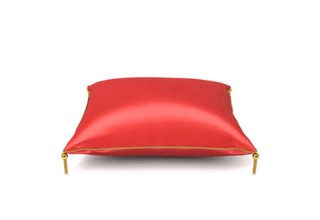 3d rendering of a red silk royal pillow with golden tussels isolated on a white background. Stock Photo