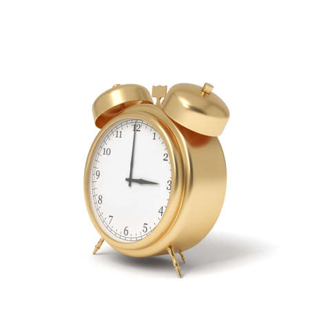 3d rendering of a golden retro alarm clock with bells isolated on a white background.