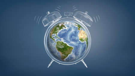 3d rendering of colorful Earth globe used a clock face of a chalk drawn ringing alarm clock. Standard-Bild
