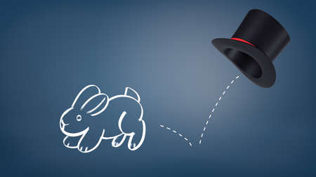 3d rendering of a chalk drawn rabbit jumps out of a magicians hat leaving a dotted line as its trail on a blue background. Banco de Imagens