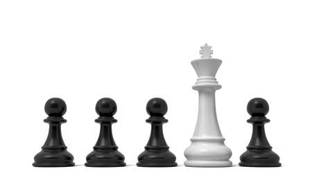 3d rendering of a row of black pawn pieces with a single white king figure sticking out from among them. Stock Photo