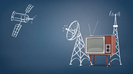3d rendering of a chalk drawn space satellite and satellite towers near a large retro TV set on legs.