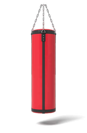 3d rendering of a red and black boxing bag hanging on metal chains on a white background.