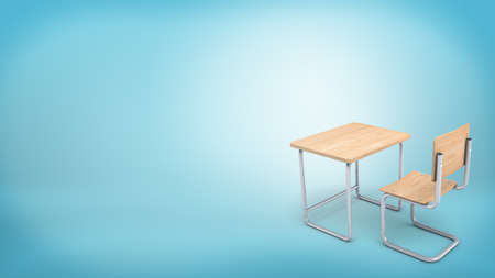 3d rendering of a modern light wood set made of a chair and a table for school and college learners.