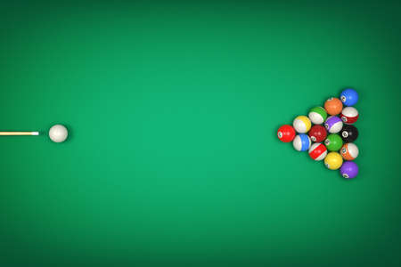 3d rendering of a cue stick ready to hit a single ball facing many other balls forming a triangle.