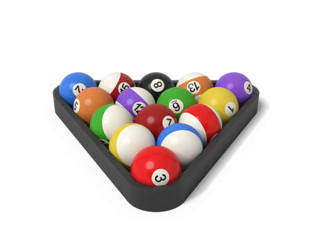 3d rendering of many billiard balls with colorful stripes and numbers inside a rack. Banque d'images