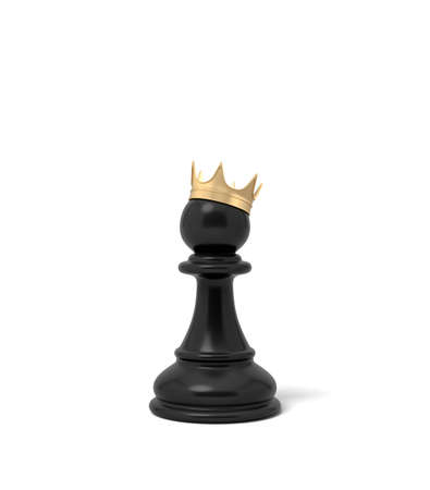 3d rendering of a black chess pawn piece with a golden crown sitting on top of it. Stockfoto