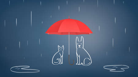 3d rendering of a open red umbrella covering chalk drawn cat and dog from rain on a blue background. 免版税图像