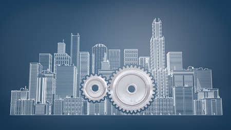 3d rendering of a two interlocking gears inside a large drawn picture of city buildings on a blue background.