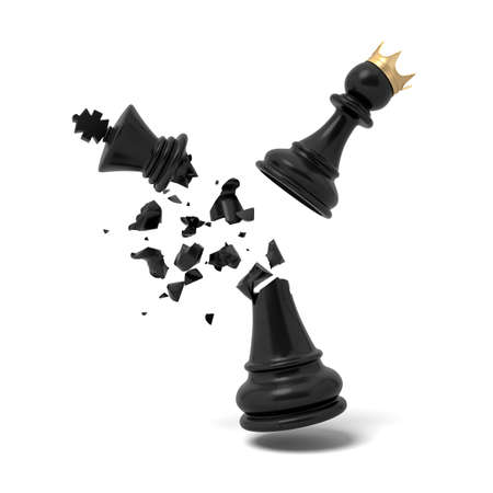 3d rendering of a cracked black chess king piece breaks under a flying white pawn with a golden crown.