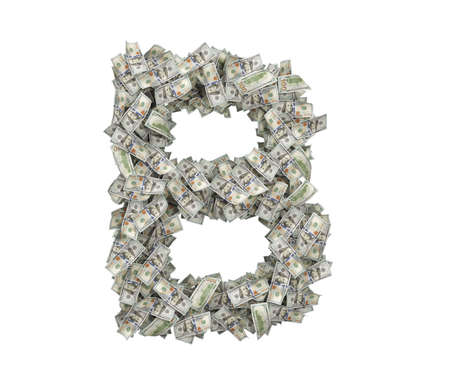 3d rendering of a large isolated large letter B made of one hundred dollar bills.