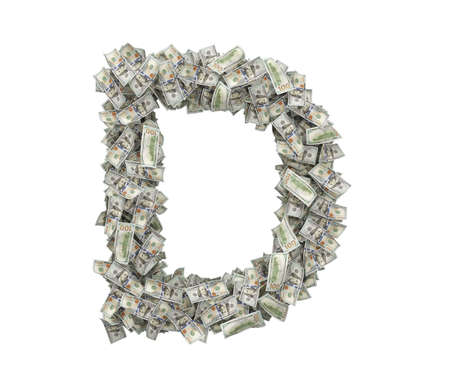 3d rendering of a large isolated large letter D made of one hundred dollar bills. 스톡 콘텐츠