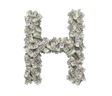 3d rendering of a large isolated large letter H made of one hundred dollar bills.