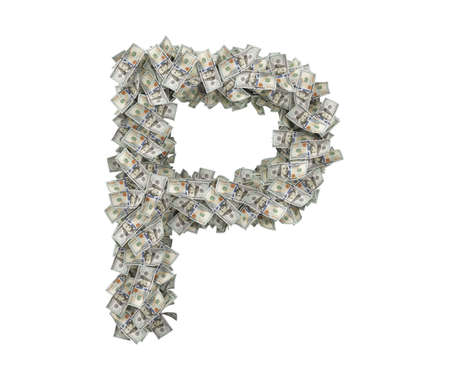3d rendering of a large isolated large letter P made of one hundred dollar bills. 스톡 콘텐츠