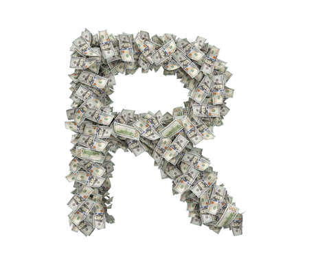 3d rendering of a large isolated large letter R made of one hundred dollar bills.