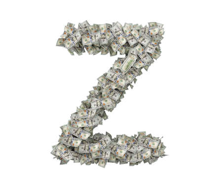 3d rendering of a large isolated large letter Z made of one hundred dollar bills.