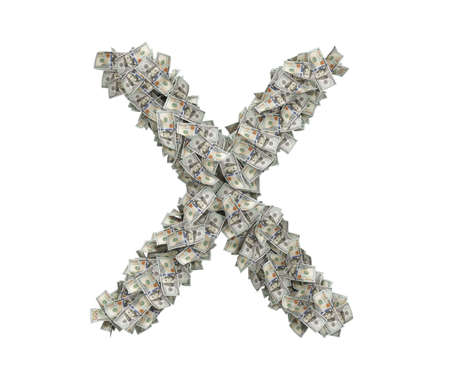 3d rendering of a large isolated large letter X made of one hundred dollar bills.