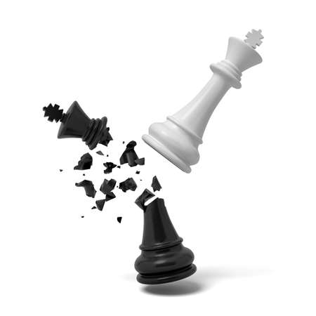 3d rendering of a white chess king breaks a black king that cracks and falls on a white background.