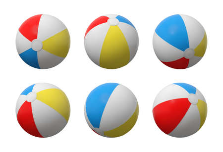 3d rendering of many identical inflated beach balls with white, red, yellow and blue stripes.