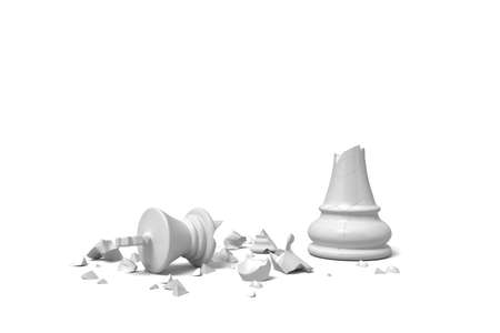 3d rendering of a completely broken white chess king lies in rubble on a white background.