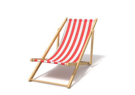 3d rendering of a white red deckchair isolated on a white background. Banque d'images