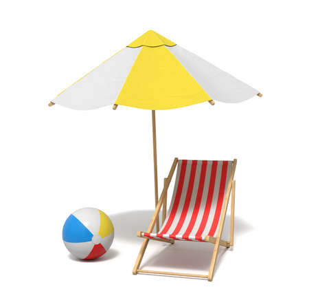 3d rendering of a white and yellow beach umbrella and wooden deck chair.