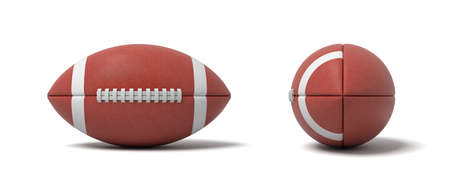 3d rendering of a two red oval balls for American football in front and side views. Stok Fotoğraf