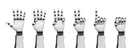 3d rendering of a set of robotic arms each showing a different number of pointed fingers.