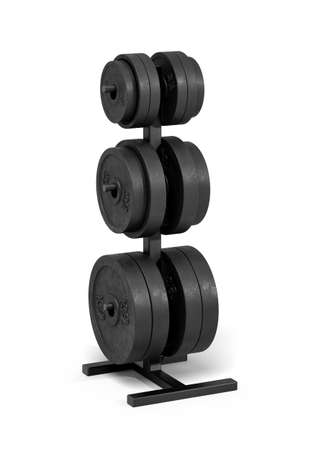 3d rendering of an isolated black rack full of different black barbell weights stored on it. 스톡 콘텐츠